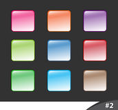 Shiny website buttons, part 2. A set of shiny colorful website buttons isolated over dark background, part 2 Royalty Free Stock Photo