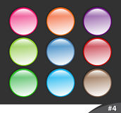 Shiny website buttons, part 4. A set of shiny colorful website buttons isolated over dark background, part 4 Royalty Free Stock Photo