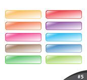 Shiny website buttons, part 5. A set of shiny colorful website buttons isolated over white background, part 5 Royalty Free Stock Images