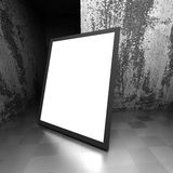 Shiny white blank advertising billboard in dark concrete room. 3d render illustration Stock Photography