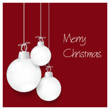 Shiny white christmas decoration baubles hanging on red  eps10 Stock Photo