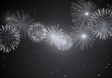 Shiny white fireworks on dark background Stock Photo