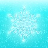 Shiny White Snowflake on Cyan Background Royalty Free Stock Photos
