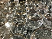 Wine glasses with patterns on the surface stock images