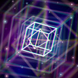 Shiny wired crystal with color aberrations in Royalty Free Stock Photography