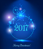 Shiny Xmas ball for Merry Christmas 2017 celebration on dark blue background with light, stars, snowflakes. Vector eps illustration stock illustration
