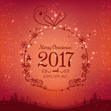 Shiny Xmas ball for Merry Christmas 2017 and New Year on red background with winter landscape. With snowflakes, light, stars. Holiday card. Vector eps Royalty Free Stock Image