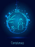 Shiny Xmas ball with snowman for Merry Christmas celebration on dark blue background with light. Hand drawn. Vector eps. Illustration Stock Image
