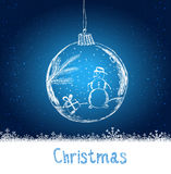 Shiny Xmas ball with snowman for Merry Christmas celebration on dark blue background with snowflakes. Hand drawn.  Stock Photos
