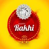 Shiny yellow background with beautiful rakhi wristband made by. Stones for Happy Rakhi celebration vector illustration