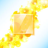 Shiny yellow geometric background with glass panel Stock Photography
