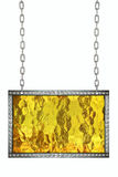 Shiny yellow gold signboard hanging on chains isolated stock photography