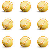 Shiny yellow guitar icon assortment Stock Image