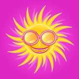 Shiny Yellow Sun with Smile. And Wearing Glasses on Purple Bacground Stock Images