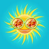 Shiny Yellow Sun Wearing Cool Glasses Royalty Free Stock Photo