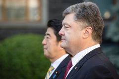 Shinzo Abe and Petro Poroshenko Royalty Free Stock Photos