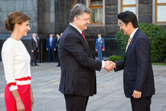 Shinzo Abe and Petro Poroshenko Stock Photos