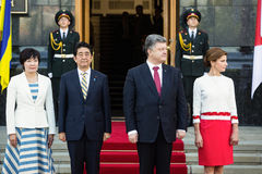 Shinzo Abe and Petro Poroshenko Stock Photography