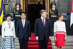 Shinzo Abe y Petro Poroshenko Fotografía de archivo
