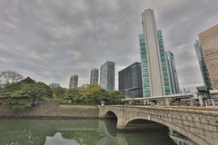 Monorail and Skyscrapers in Shiodome Royalty Free Stock Image