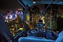 Shiodome skyline Helicopter Royalty Free Stock Photos