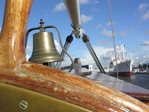 Ship's bell. The bell of an old sailing ship in Hamburg stock photo