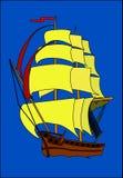 Ship. Beautiful sailing ship with details stock illustration