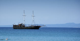 Ship. On the beautiful blue sea. Greece Stock Photo