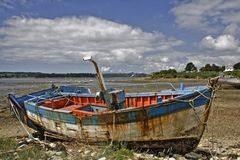 A ship. Rostellec marine cemetery in Britain In France stock image