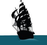 Ship. Old sailing ship silhouette marine Stock Photography