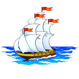 Ship. Big ship with sails full with wind sailing on sea Royalty Free Stock Images