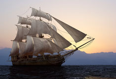 The  ship. The ship sails at sea Stock Images