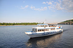 Ship. Pleasure white boat on the Dnieper River Royalty Free Stock Photo