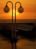 Sunset on the ship, nobody on deck. On the ship at sunset hour, travelling to a Greek island royalty free stock photos