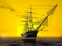 Ship. Over the sun set background Royalty Free Stock Images
