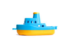 Ship. Little plastic toy ship isolated on white Stock Photo