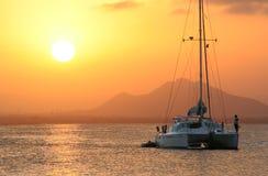 Ship. A catamaran at sunset, in la manga Spain Stock Photography