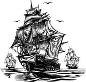 Ship. Engraving picture. Vector illustration Royalty Free Stock Photo
