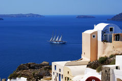 Ship. The greek blue and white of Santorini island, Greece stock photography