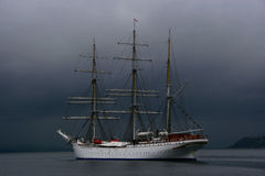Ship. White ship in a storm Stock Images