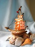 Ship. A handy craft ship made by variety shell Stock Images