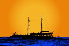 The ship. Vector silhouette of the ship Royalty Free Stock Images
