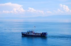 Ship. In the middle of lake Royalty Free Stock Photography