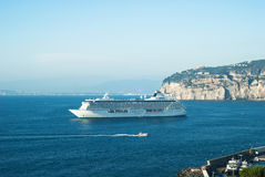 Ship. Cruise ship in Sorrento water area royalty free stock photo