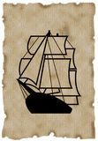 Ship. On aged paper royalty free illustration