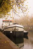 Ship. In the harbour with autumn colors all around Stock Photo