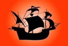 Ship. Silhouette Royalty Free Stock Photo