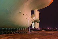 Ship. Ship at dock night to prepare for repair Royalty Free Stock Photography