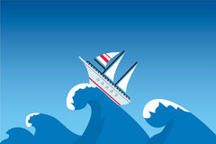 Ship. The ship on a surge, illustration Royalty Free Stock Photography