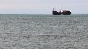 Ship abandoned at sea stock footage